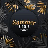 Natural realistic black and gold tropical palm leaves on black background. Summer sale concept vector