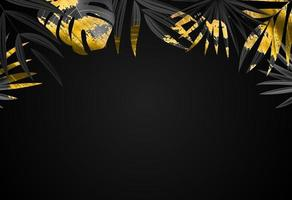 Natural realistic black and gold tropical palm leaves vector