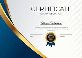 plantilla de certificado de logro azul y oro vector
