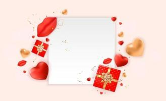 Valentine's day background with white frame and 3d ornament vector