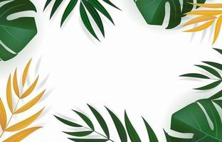 Abstract realistic tropical green and golden palm leaves. vector