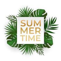 Natural realistic green tropical palm leaves. Summer time lettering. vector