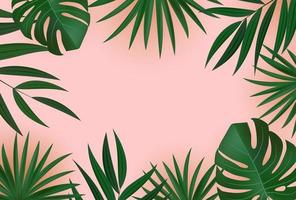 Abstract realistic green tropical palm leaves on pink background. vector