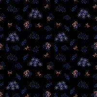 Seamless pattern of blue flowers and dragonflies on dark background