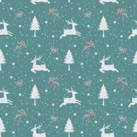 Christmas holiday seamless pattern with deers in winter season vector