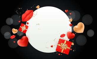 Valentine's day design with white circle frame on black background vector