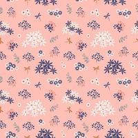 Flowers blooming garden seamless pattern on pastel mood