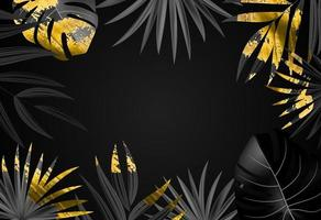 Natural realistic black and gold tropical palm leaves on black background vector