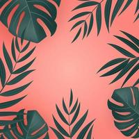 Natural realistic green tropical palm leaves on pink background vector