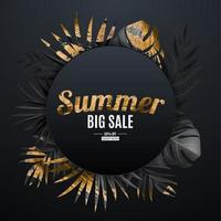 Natural realistic black and gold tropical palm leaves banner. Summer sale. vector