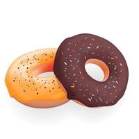 Realistic 3d sweet tasty donuts. Vector illustration