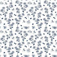Flores de sombra azul en el patrón sin costuras de jardín blanco vector