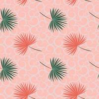 Tropical leaves on pastel shade seamless pattern