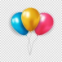 colección realista de globos 3d para fiesta, vacaciones. ilustración vectorial
