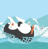 lindo pingüino duerme en hamaca vector