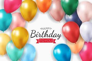 Fondo de globos 3d realista para fiesta, vacaciones, cumpleaños, tarjeta de promoción, cartel. ilustración vectorial.