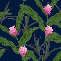 Beautiful tropical flowers and leaves seamless pattern vector