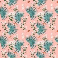Cute white flowers with tropical leaves on pastel seamless pattern vector