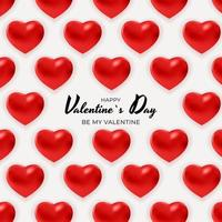 Valentine's day banner background with 3d hearts pattern vector