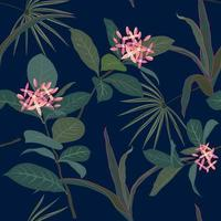 Pastel tropical flowers and leaves seamless pattern