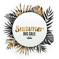 Natural realistic black and gold tropical palm leaves banner, summer big sale vector
