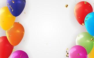 Fondo de globo 3d realista para fiesta, vacaciones, cumpleaños, tarjeta de promoción, cartel. ilustración vectorial