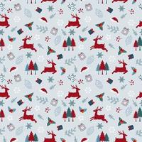 Christmas holiday seamless pattern with deers and leaves