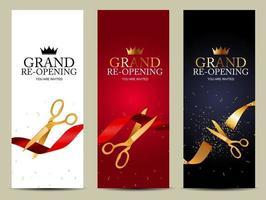 Conjunto de fondo de cartel de negocios de tarjeta de gran reapertura. ilustración vectorial vector
