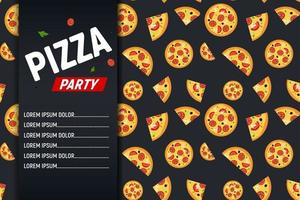 Pizza Party Flyer Poster Background Template. Vector Illustration.