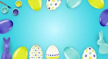 Easter poster template with 3d realistic Easter eggs and paint. Template for advertising, poster, flyer, greeting card. Vector Illustration
