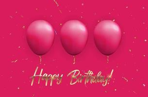 Color Glossy Happy Birthday Balloons Banner on Pink Background, Vector Illustration