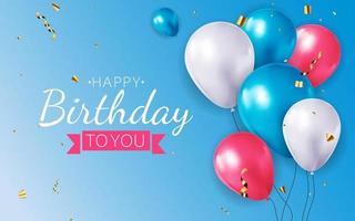 Fondo de globo 3d realista para fiesta, vacaciones, cumpleaños, tarjeta de promoción, cartel. vector