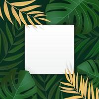 Natural Realistic Green Palm Leaf Tropical Background with Empty Blank Frame. Vector illustration