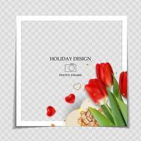 Día de San Valentín y plantilla de marco de fotos de fondo de amor para publicar en redes sociales. ilustración vectorial vector