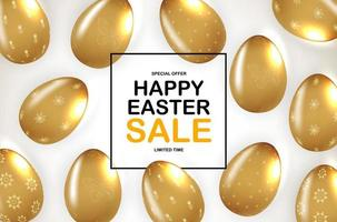 Easter poster template with 3d realistic golden Easter eggs. Template for advertising, poster, flyer, greeting card. Vector Illustration