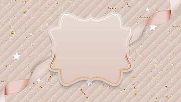 Beautiful Abstract Background with Empty Frame and Realistic Ribbon. Vector Illustration