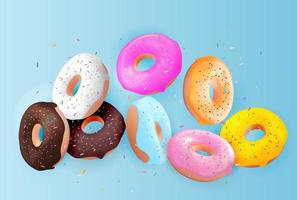 Realistic 3d sweet tasty donut background. Can be used for dessert menu, poster, card. Vector illustration