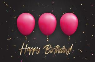 Color Glossy Happy Birthday Balloons Banner Background, Vector Illustration