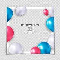 Party Holiday Photo Frame Template for post in Social Network. Vector Illustration