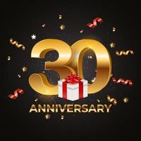 Banner Template 30 Years Anniversary Vector Illustration