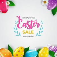 Easter sale poster template with 3d realistic Easter eggs. Template for advertising, poster, flyer, greeting card. Vector Illustration.