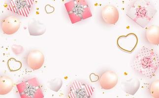 Valentine's Day Background Design with Realistic Gift Boxes and Hearts. Copy space template vector