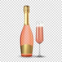 champán rosa rosa realista 3d. icono de cristal y botella de oro aislado. vector