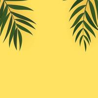 Abstract Realistic Green Palm Tropical Leaves. Vector illustration with yellow copy space