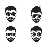 Handsome face logo images vector