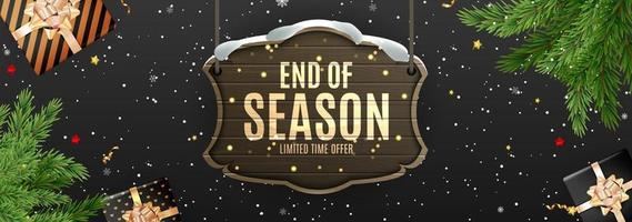 Winter End of Season Sale Background Design. Template for advertising, web, social media and fashion ads. vector