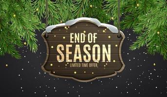 Winter End of Season Sale Background Design Black Color vector