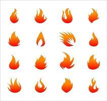 iconos planos de fuego para conjunto de diseño vector