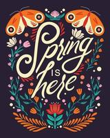 Colorful decorative handwritten typography design with animals and flower decoration. vector