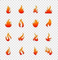 fuego iconos planos para diseño sobre fondo transparente vector